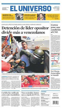 Portada de #DiarioELUNIVERSO del miércoles 19 de febrero del 2014. Las #noticias de #Ecuador y el mundo en: www.eluniverso.com