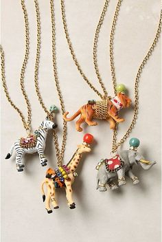 Turn plastic toys into rad circus animal necklaces.