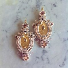 Pink and gold soutache earrings