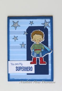 MFT Stamp BB Super Boy greeting card - You are my Superhero - Boy with stars - My Favorite Things - Die-Namics