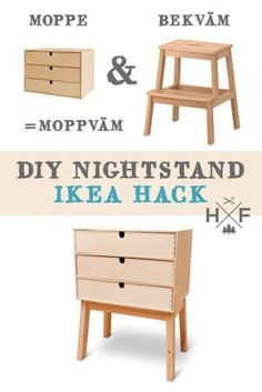 Ikea hack MOPPE & BEKVÄM nightstand hack