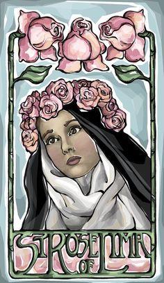 Rose of Lima Prayer Card image 0 Catholic Art, Catholic Saints, Patron Saints, Religious Art, St Rose Of Lima, Little Prayer, Les Religions, Santa Teresa, Prayer Cards