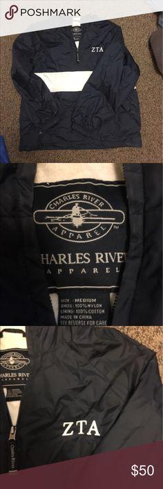 Zeta Tau Alpha Sorority Rain Jacket 👑 Navy and white, gently worn, size M. Lined and super warm. charles river Jackets & Coats