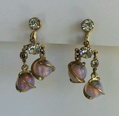 VINTAGE 1960s GOLD TONE Pink Purple OPAL DANGLE Rhinestone SCREWBACK EARRINGS