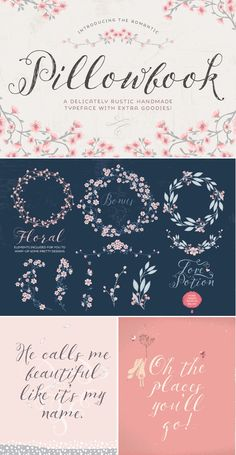 Pillowbook typeface + Extras! by Lisa Glanz on Creative Market #typography…