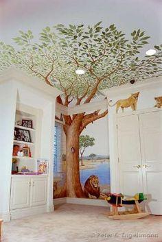 Safari Playroom Mural, acrylic on wallboard, private residence. © Peter K. Engelsmann by jayne