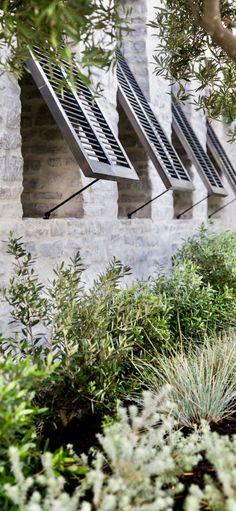Garden Studio creates landscape by design by utilizing outdoor spaces. Design inspiration throughout our website. Green Landscape, Landscape Design, Garden Design, Mediterranean Garden, Provence, Shutter Decor, Cedar Shutters, Landscape Services, Houses
