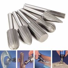 6pcs 6mm Shank Tungsten Steel Rotary File Cutter Engraving Grinding Bit For Rotary Tools