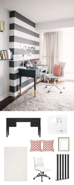 Kate Spade inspired office. How could we have forgotten her classic black and white stripes? Infuse it into an accent wall for a perfect mix of elegance and punch.