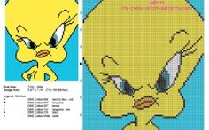 Tweety Bird Looney Tunes character in a yellow background tile free cross stitch pattern design