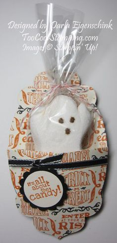 "Ghost peep treat - This idea was CASEd from Susan Campfield and you can see how to create it by watching her video tutorial: Ghost Peep Holder at http://youtu.be/zkGDDXV7SMY, photo tutorial: http://www.suestampfield.com/blog/2013/09/trick-or-treat-ghost-peep-in-a-cute-pocket.html   Supplies Used:  Witches' Brew DSP, Apothecary Accents Framelits, 1/8"" Black Taffeta, Halloween Hello, 1-1/4"" Scallop Circle Punch, 1"" Circle Punch, Small Cello Bags, Calypso Coral Baker's Twine, Dimensionals and…"