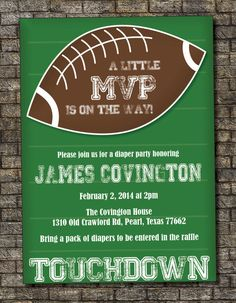 Football Baby Shower Invitation Baby Boy By PurplelephantDesigns, $12.00