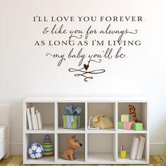 Ill love you forevervinyl wall lettering by OldBarnRescueCompany, $39.00 nursery-ideas