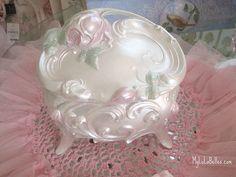 Painted Metal Vintage Rose Box USE PEARL GLAZE <3
