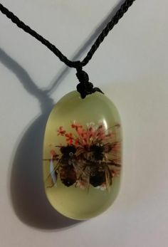 Honey Bee's in Love Pendant Necklace Real Bees & Flower in Clear Resin