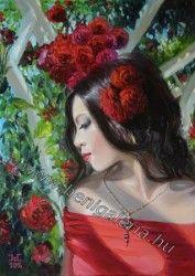 My Rose Queen / Rózsakirálynő festményem. Spiritual Paintings, Rose Queen, Snow White, Spirituality, Dreadlocks, Disney Princess, Hair Styles, Painting Flowers, Art Oil