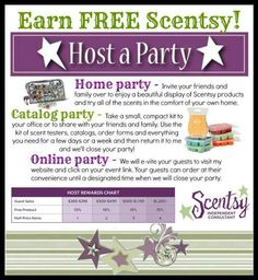 Host a Qualifying Online Party of $150 or more with me and get a FREE Plug-In Warmer of your choice when your party is closed along with the Host Rewards you earn from your party!! Contact me for more details!! email..jessie4694@yahoo.com facebook.com/jessicaseets.scentsy
