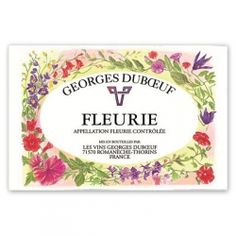 French Wine Label Kitchen Towel - Georges Duboeuf Fleurie - Beaujolais