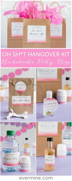 Oh Sh*t Hangover Kits - Bachelorette party - Girls Classy Bachelorette Party, Bachelorette Party Decorations, Bachelorette Weekend, Bachelorette Games, Unique Bachelorette Party Ideas, Bachlorette Themes, Bachelorette Hangover Kit, Hen Party Decorations, Party Gifts