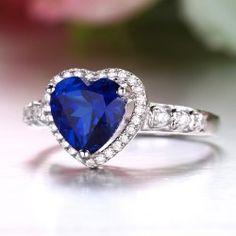 Dazzling Sapphire Heart S925 Silver 18K Gold Finger Ring For Women