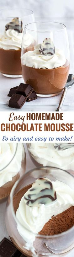 This easy Chocolate Mousse recipe is super simple to make from scratch and deliciously light and fluffy. It's fancy enough for a party but easy enough to make whenever you have a craving for chocolate! An eggless mousse recipe that is so airy and chocolatey and can be enjoyed by everyone.