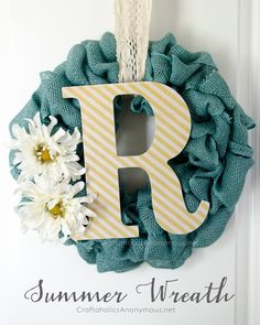 DIY Burlap Wreath with Monogram || Great texture! Use seasonal touches for year round use.