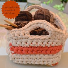Knit and Love : Trapillo Crochet Home, Love Crochet, Crochet Crafts, Crochet Projects, Knitting Videos, Crochet Videos, Cotton Cord, Crochet T Shirts, Crochet Basket Pattern