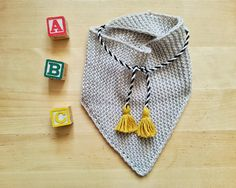 Hand knitted merino baby triangle SCARF newborn by YellowYarnyYak Triangle Scarf, Knit Patterns, Hand Knitting, Baby Shower Gifts, Two By Two, Yellow, Crochet, How To Make, Handmade