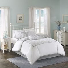 Cranston in Silver Stitching and Crisp White Comforter Sets by Harbor House