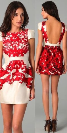 this dress is gorgeous! I love the bright red print and the open back!