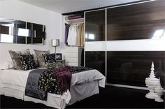 Dark wood and white  http://www.sliderobes.com/sliding-wardrobe/category/Bedrooms/High-Gloss-Collection/dark-wood-and-white
