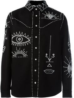 VALENTINO Embellished Shirt. #valentino #cloth #shirt Vogue Fashion, High Fashion, Womens Fashion, Cutaway Collar, Fashion Details, Fashion Design, Black Cotton, Diy Clothes, Menswear