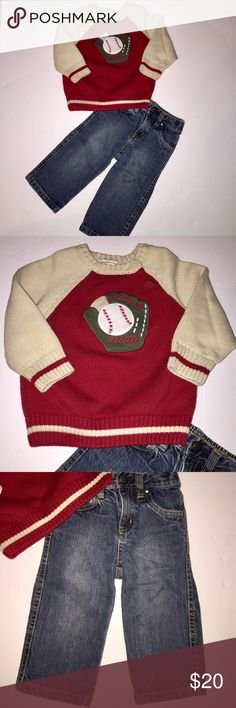 Adorable Baseball Outfit by Gymboree size 12-18 mo Adorable Baseball Outfit by Gymboree size 12-18 months for your little baseball fan!! Super cute sweater with a 2 button closure at Neck  for easy in and off. Pull-on Jeans with elastic waist 12-18 months. In excellent condition Gymboree Matching Sets
