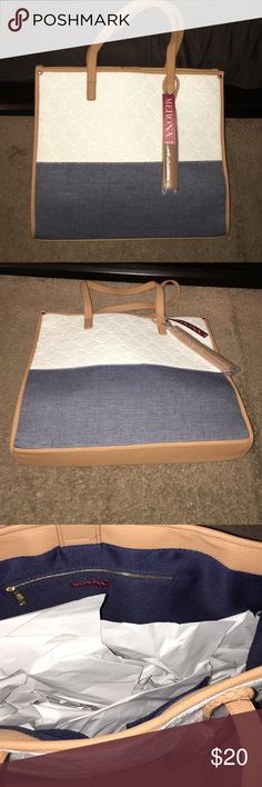 BRAND 🆕 NWT Large Merona Tote Bag 💼 BRAND 🆕 never used‼️ large Merona Tote Bag. Tag still attached. Been sitting in my closet since I $ it. 😕 should go to a happy home that will get good use out of it! 💙  17 inches going across, 15.5 from top to bottom. Merona Bags Totes