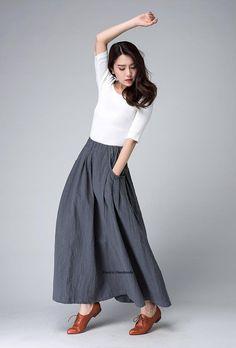 long linen skirt Maxi skirt grey skirtladies skirts by xiaolizi                                                                                                                                                                                 Más
