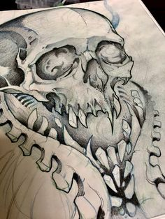 Follow @mike_tattoo on IG skull bio Mech skull #skull #skulltattoo  #skullart #skulldrawing