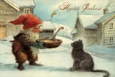 The Yule cat and gnome Norwegian Christmas, Scandinavian Christmas, Illustrations Vintage, Illustration Art, Vintage Christmas Cards, Christmas Pictures, Baumgarten, Inspiration Art, Elves And Fairies