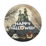 Spooky Haunted House Costume Night Sky Halloween Paper Plate #halloween #happyhalloween #halloweenparty #halloweenmakeup #halloweencostume