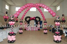 minnie mouse balloon arch | Balloon/Minnie mouse columns arch