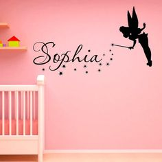 Name Wall Decal Fantasy Fairytale Magic Tinkerbell Peter Pan Disney Silhouette- Name Decal For Nursery Decals For Girls from FabWallDecals on Etsy.