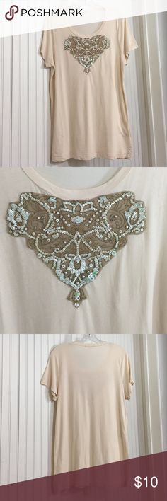 🍁New Listing🍁 J.Crew Embellished Tee J Crew tee with beautiful brown net/bronze thread and soft mint sequin and pearl bead embellishment. Longer length. Tee has two fabric slubs on front and one tiny hole, shown in picture, up close. Used condition from smoke free home. J. Crew Tops Tees - Short Sleeve