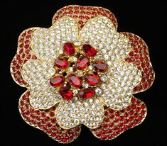 VINTAGE SIGNED CINER FLORAL RED RHINESTONE FLOWER BROOCH PIN FASHION JEWELRY #Ciner