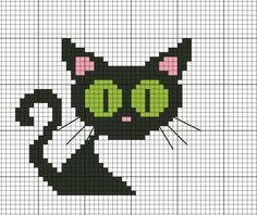 Cute color work cat to knit for Halloween. Beaded Cross Stitch, Cross Stitch Charts, Cross Stitch Embroidery, Cross Stitch Patterns, Hand Embroidery, Knitting Charts, Knitting Stitches, Knitting Patterns, Embroidery Patterns