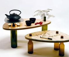 Table Using Recycled Wine Bottles