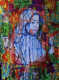 "Mundo En Mi Mundo, World In Her World - 2014. Acrylic and collage on canvas  40"" x 54"""