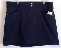 Style & Co Sport NEW SKORT Skirt Over Knit Shorts Snap Front Navy Blue XXL #Styleco #Skorts #Casual