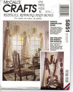 Window curtains sewing pattern ruffles ribbons and by Oldeshop2012, $3.45
