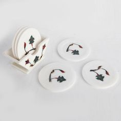 White Marble Coaster With Floral Enamel Design - Matrimony Gifts