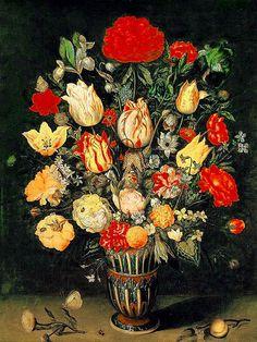 Ambrosius Bosschaert The Elder (Dutch, 1573-1621).  Still-life with flowers, oil on panel, Alte Pinakothek, Munich