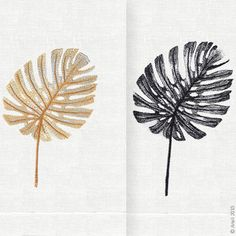 Finely detailed embroidered thread paintings for which Anali is so well known. The Philodendron embroidered design is available on white linen guest towels in both gold and black thread colors.